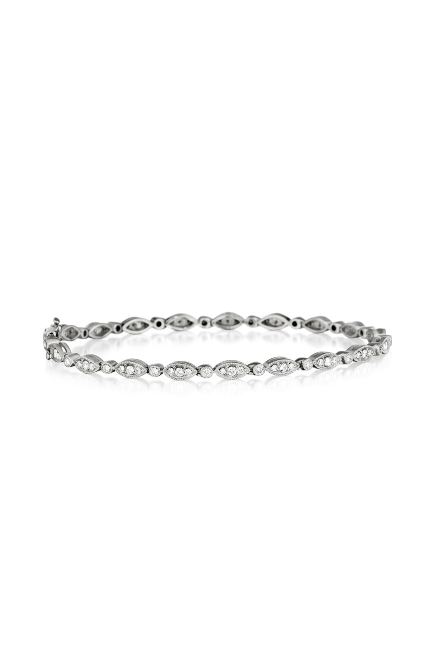 White Gold Marquis And Diamond Line Bracelet