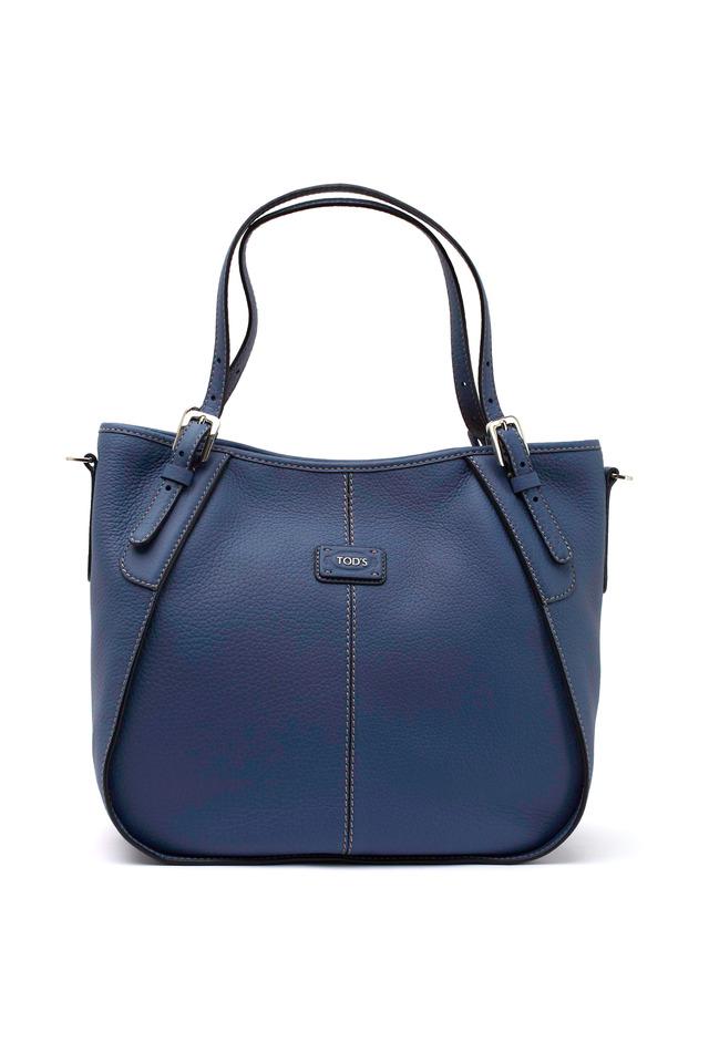 G-Line Pebbled Blue Leather Shopper Handbag