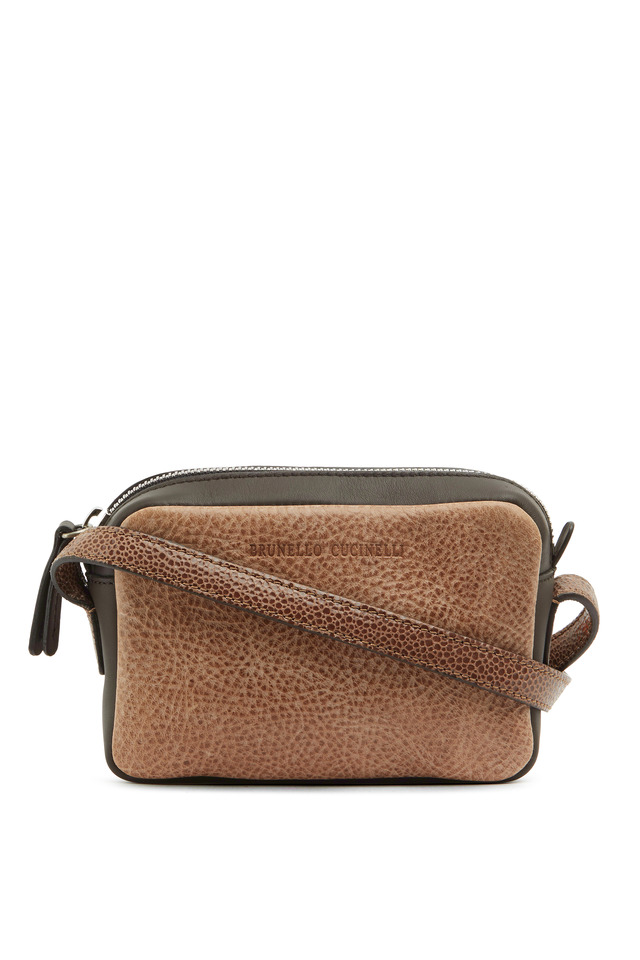 Chocolate Distressed Leather Crossbody Bag