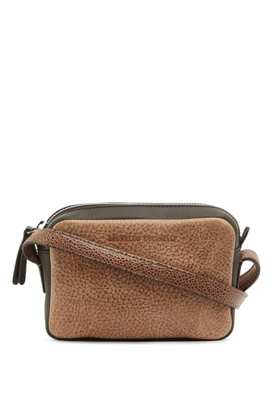 Brunello Cucinelli - Chocolate Distressed Leather Crossbody Bag