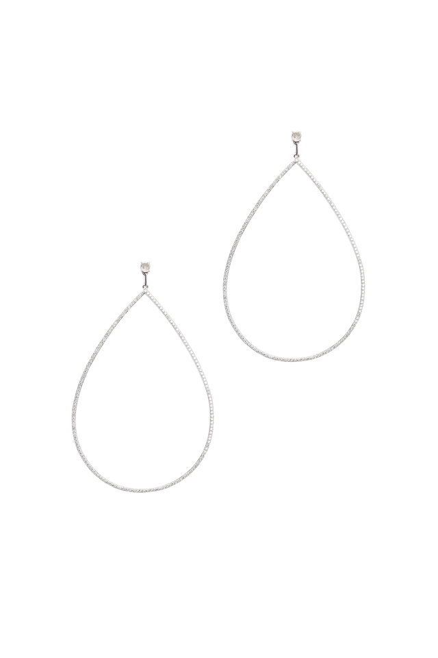 18K White Gold Diamond Teardrop Earrings