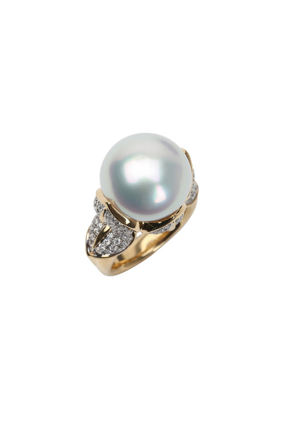 Frank Ancona 18K Yellow Gold Pearl & Diamond Ring