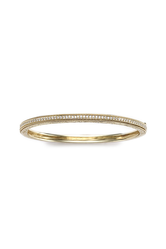 Penny Preville Gold Diamond Hinged Engraved Bangle