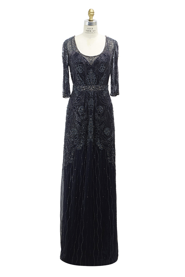 Navy Blue Polyester Gown