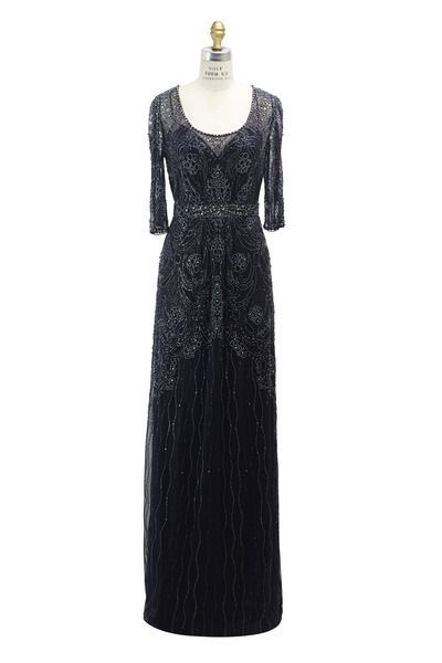 Jenny Packham - Navy Blue Polyester Gown
