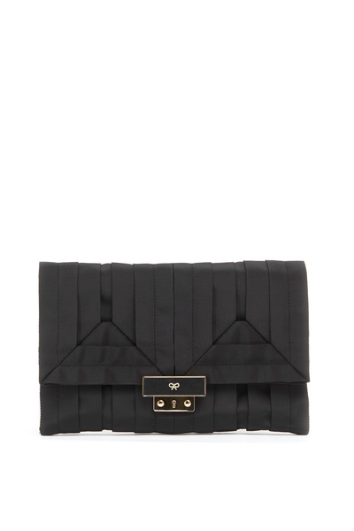 Anya Hindmarch - Ebenezer Black Grosgrain Clutch