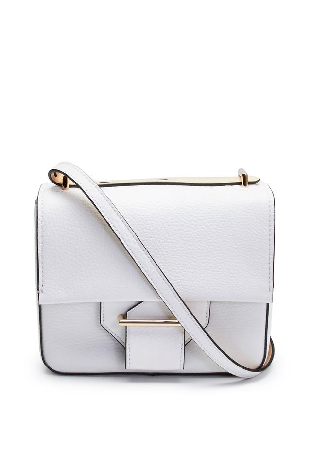 White Pebbled Leather Shoulder Standard Handbag