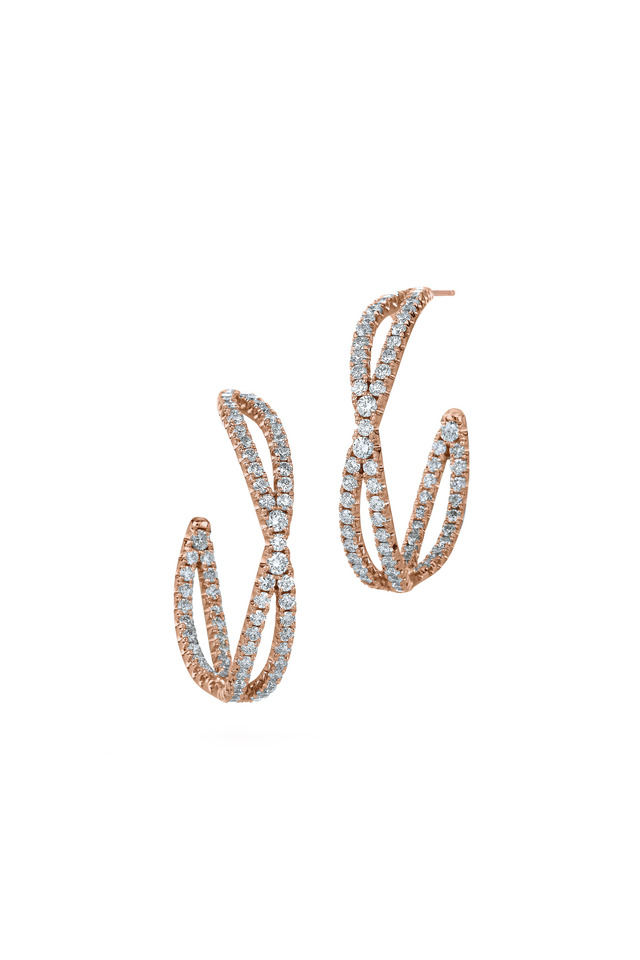 Pink Gold Diamond Hoop Earrings