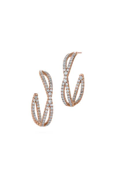 Kwiat - Pink Gold Diamond Hoop Earrings