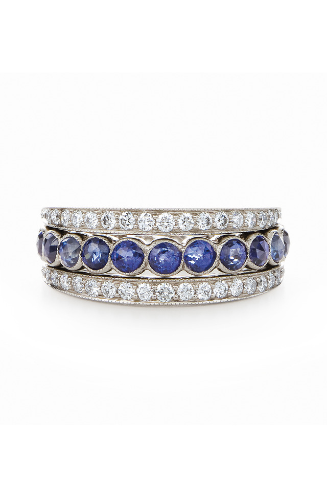 Vintage White Gold Blue Sapphire Diamond Band