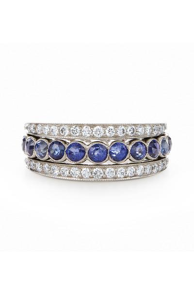 Kwiat - Vintage White Gold Blue Sapphire Diamond Band
