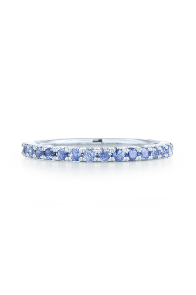 White Gold Blue Sapphire Stack Band
