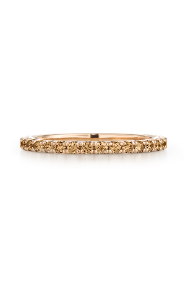 18K Pink Gold Cognac Diamond Stack Band