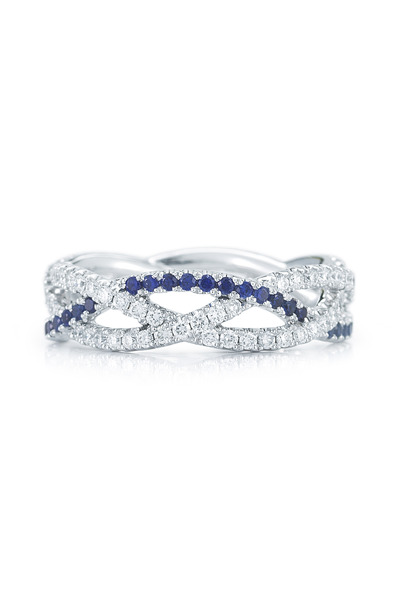 Kwiat - White Gold Diamond & Sapphire Stackable Ring
