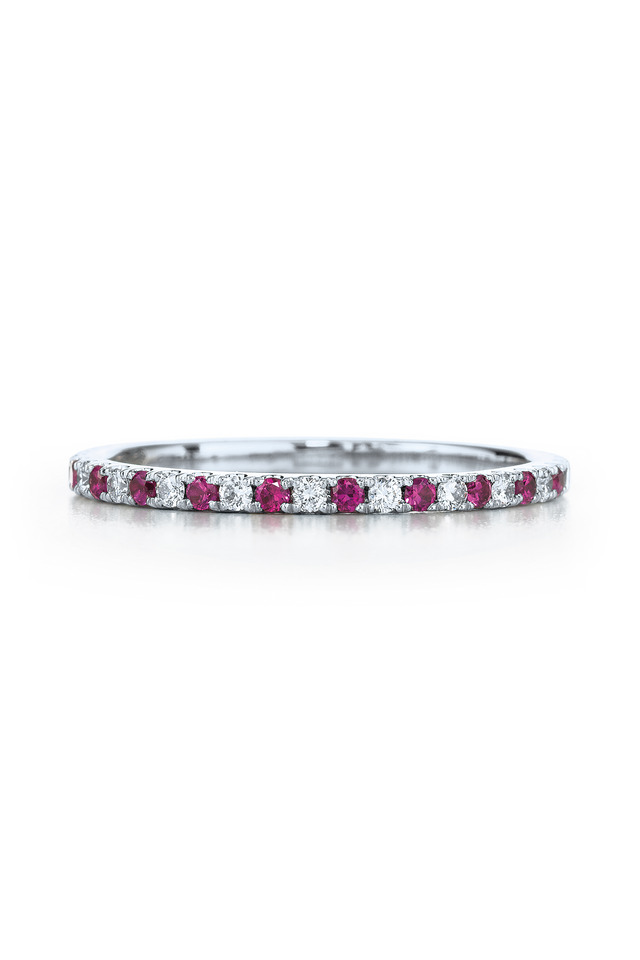 18K White Gold Ruby & Diamond Stackable Band