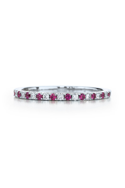 Kwiat - 18K White Gold Ruby & Diamond Stackable Band