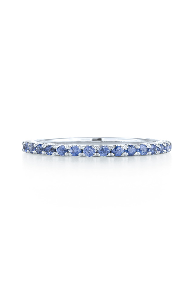 18K White Gold Blue Sapphire Stackable Band