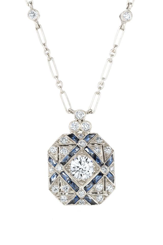 Vintage White Gold Sapphire Diamond Necklace