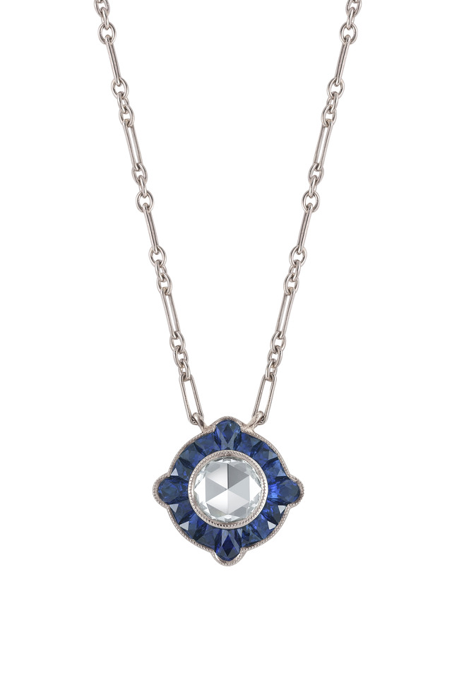 White Gold Sapphire & Diamond Pendant Necklace