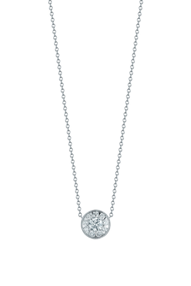 Sunburst White Gold Diamond Pendant