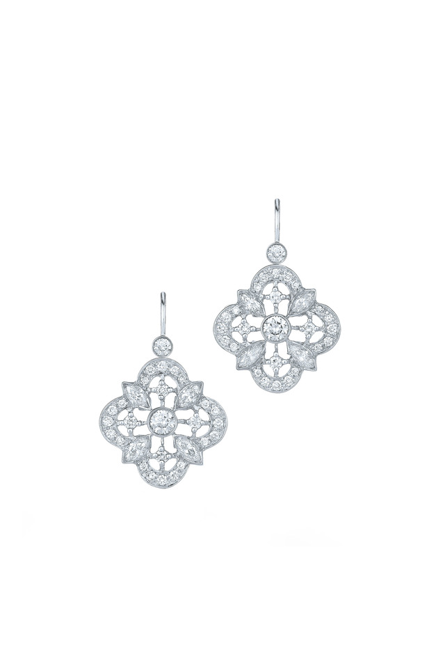 Clover White Gold Diamond Drop Earrings