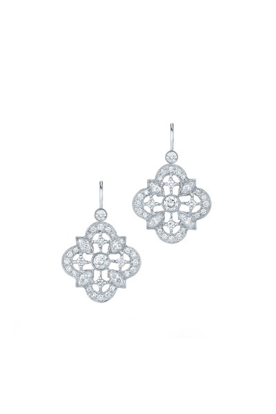 Kwiat - Clover White Gold Diamond Drop Earrings
