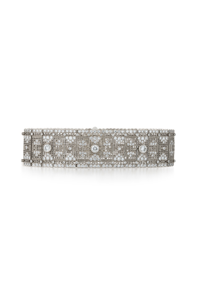 Vintage White Gold Wide Diamond Bracelet