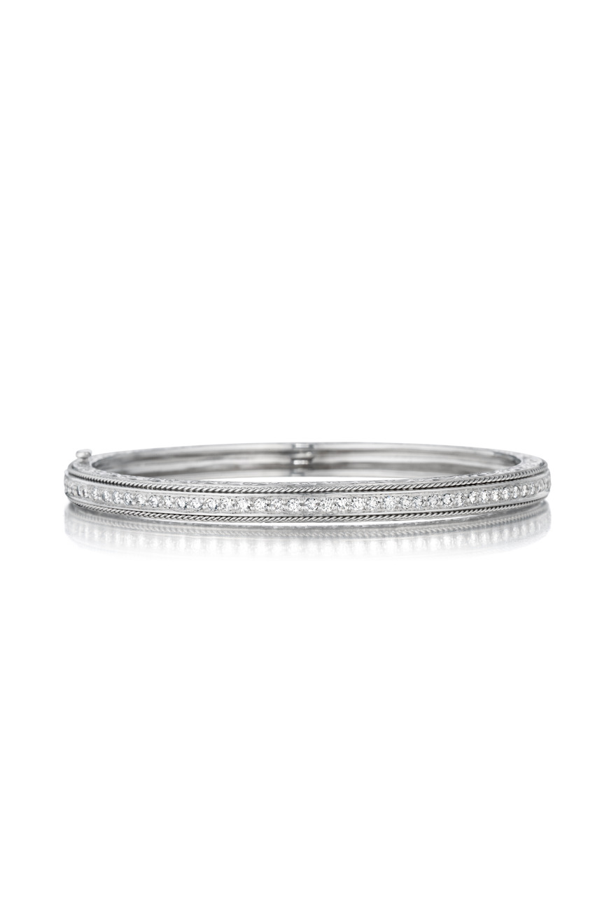 White Gold Engraved Pace Hinged Bangle, Medium