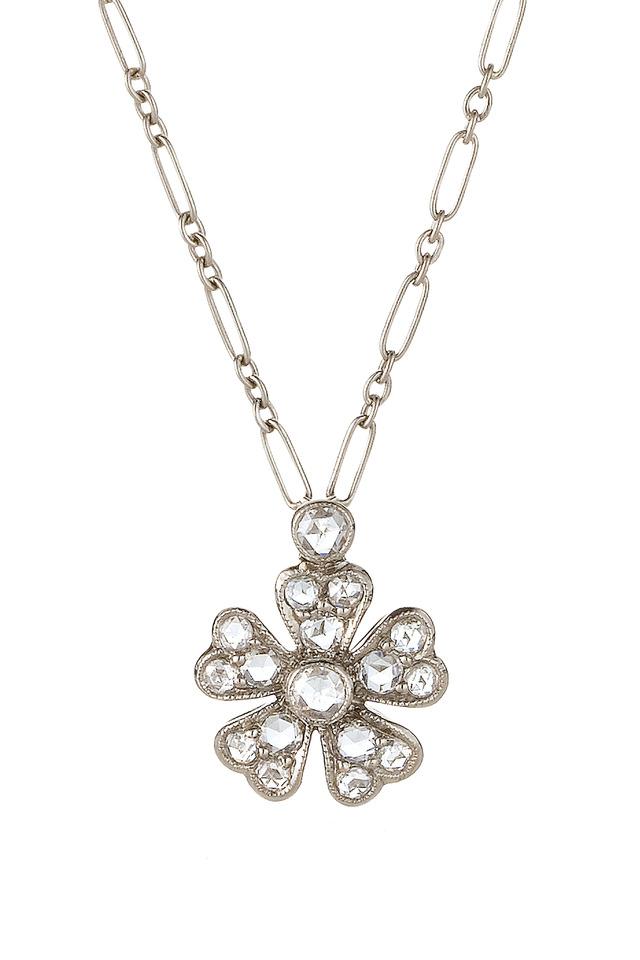 18K White Gold Diamond Flower Pendant Necklace