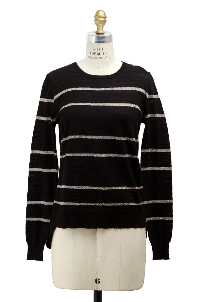 Black & Ivory Silk Pullover