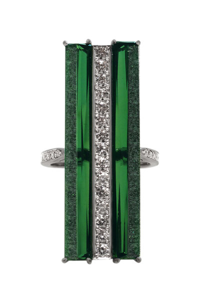 Paolo Costagli - Valentina White Gold Green Tourmaline Diamond Ring