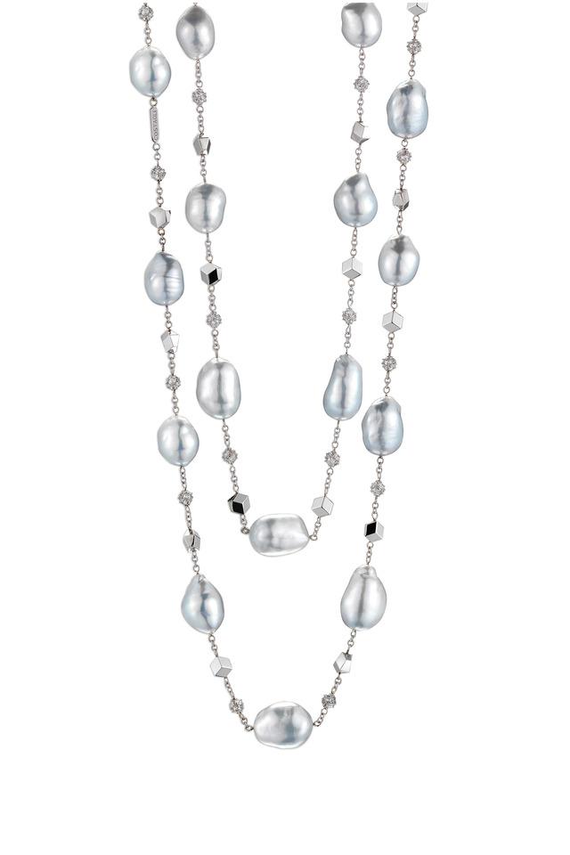 White Gold Baroque Pearl Diamond Necklace