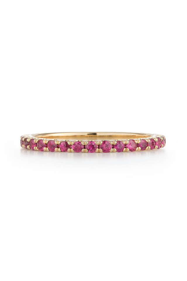 18K Yellow Gold Ruby Stackable Band