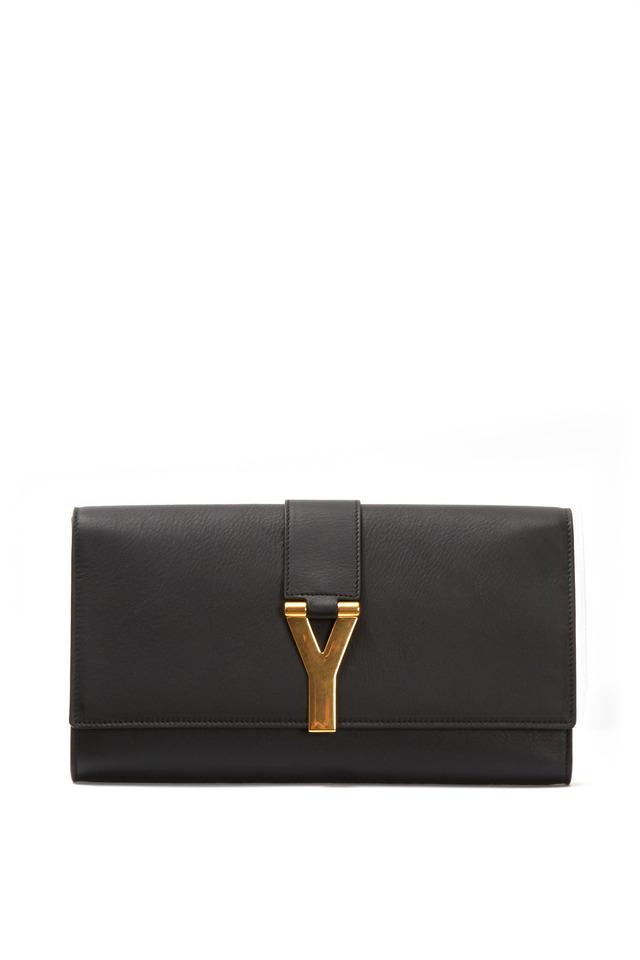 Y Ligne Black Leather Clutch