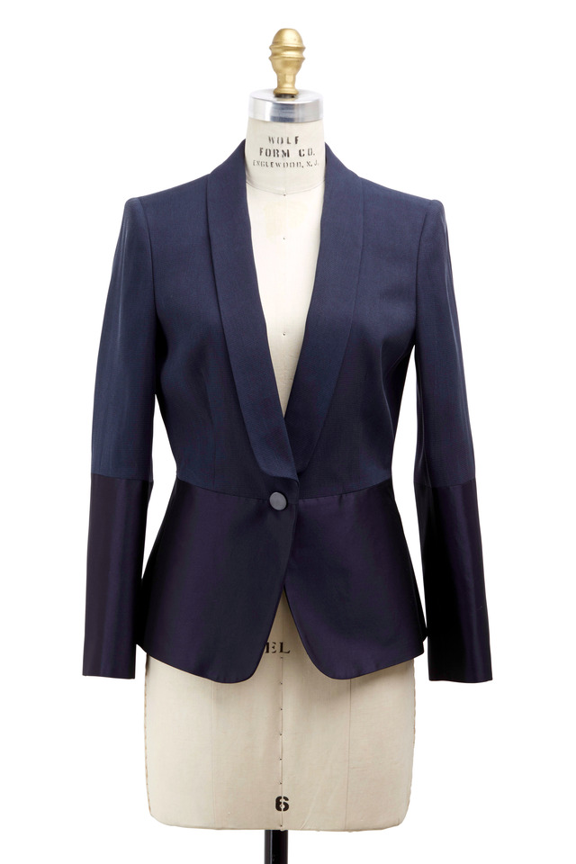 Navy Blue Silk Mikado Jacket