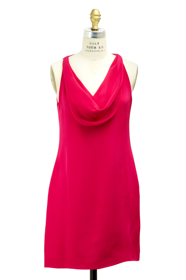 Cowl Front Fuchsia Dress