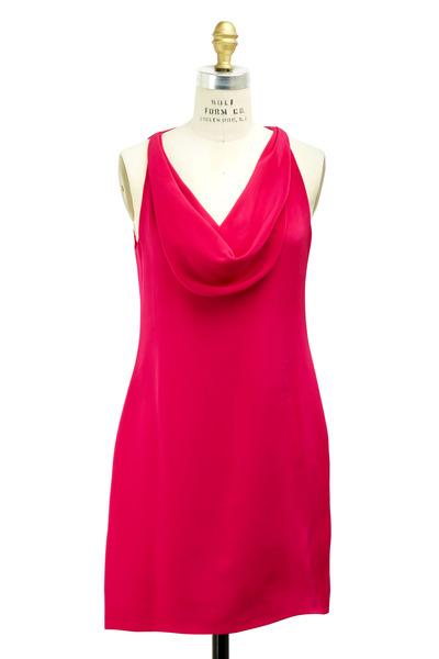 Saint Laurent - Cowl Front Fuchsia Dress