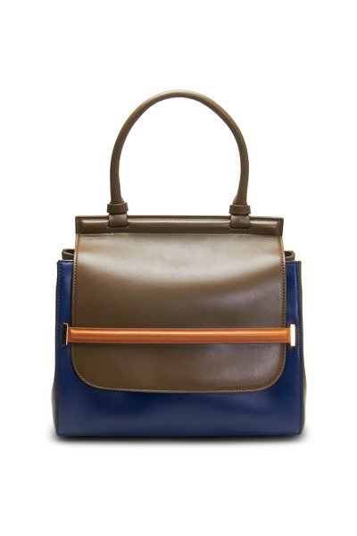 The Row - Wood & Blue Leather Top Handle Satchel