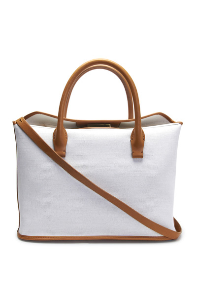 The Row - Winter White Linen Carryall Tote