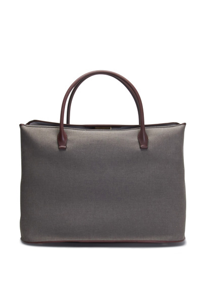 The Row - Mahogany & Wood Linen Large Carryall Handbag