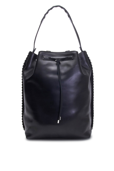 The Row - Black Leather Drawstring Backpack