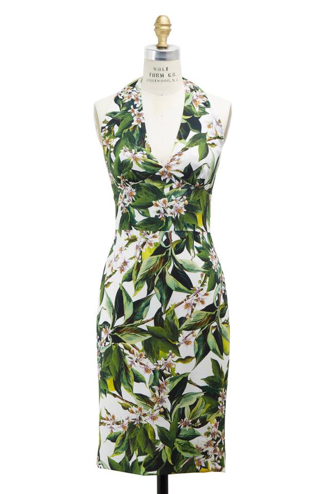 Zagara Green & White Rayon Dress