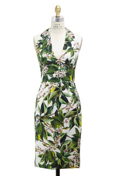 Dolce & Gabbana - Zagara Green & White Rayon Dress