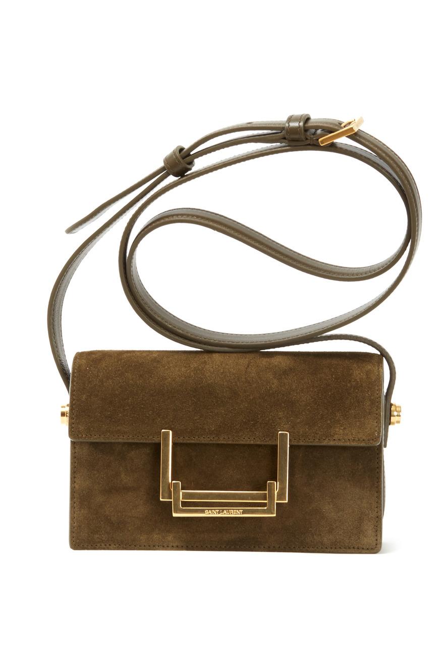 Lulu Khaki Suede Mini Flap Handbag