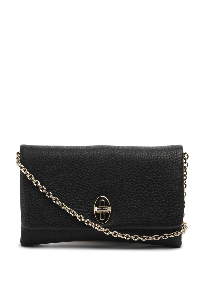 Black Soft Leather Chain Flap Clutch
