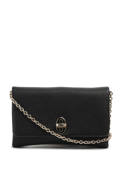 Dolce & Gabbana - Black Soft Leather Chain Flap Clutch