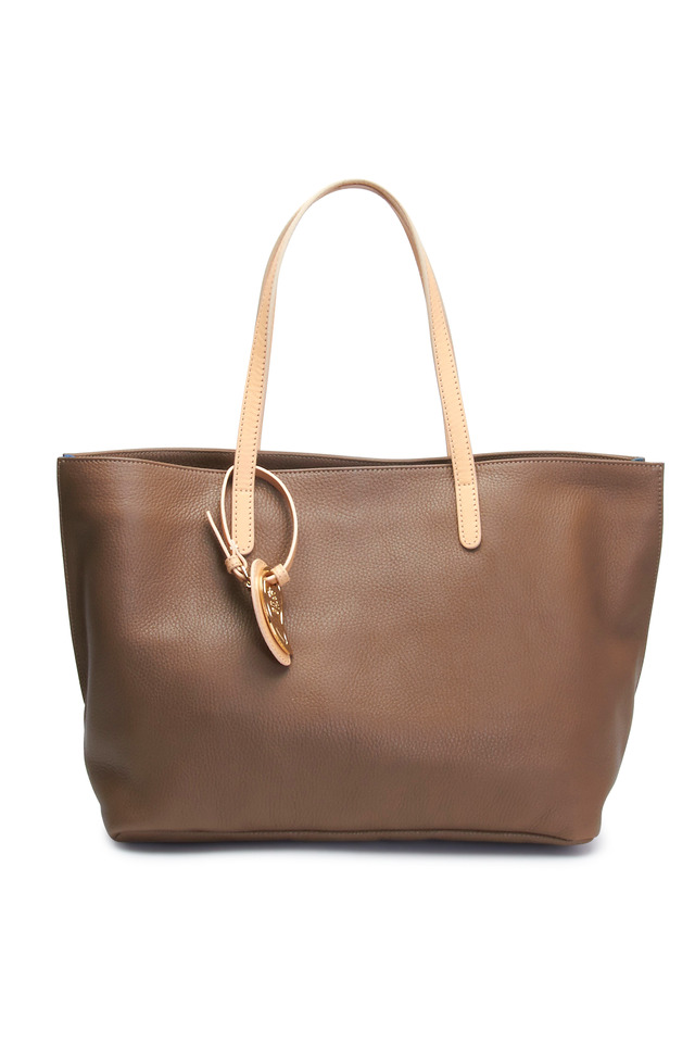 Dark Taupe & Blue Leather East West Tote