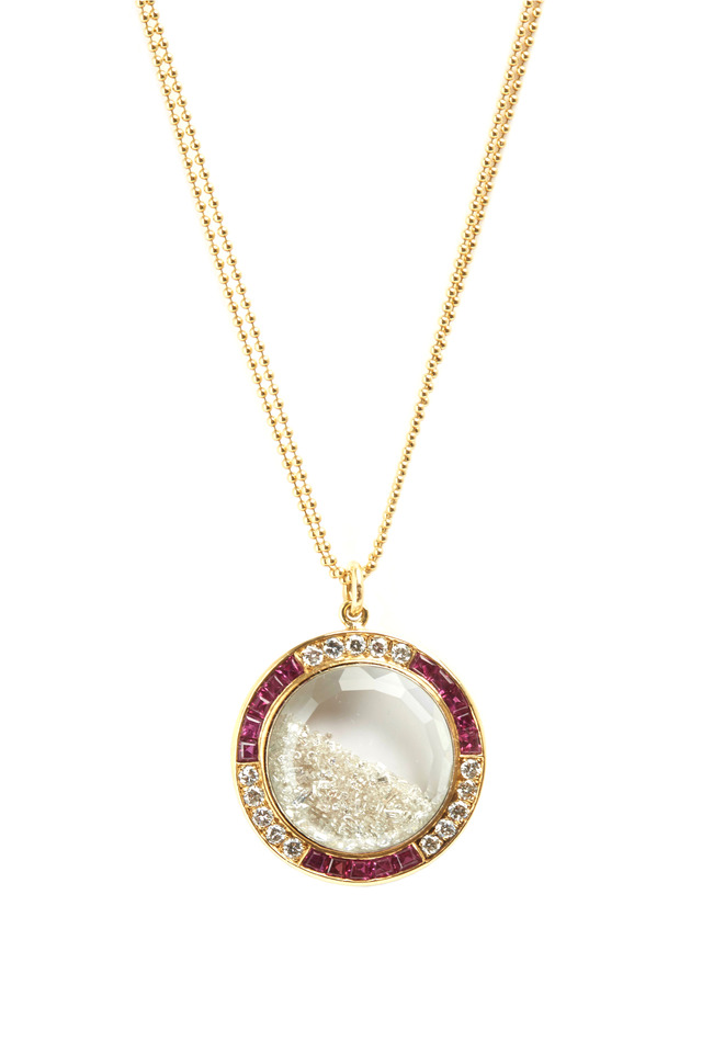 Gold Antique Stone Shake Ruby Diamond Necklace