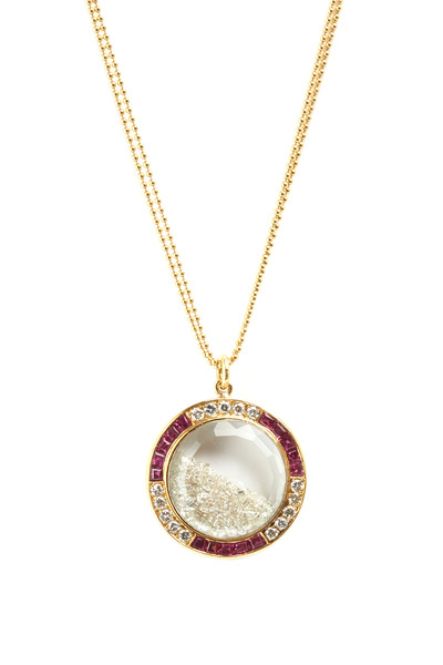 Renee Lewis - Gold Antique Stone Shake Ruby Diamond Necklace