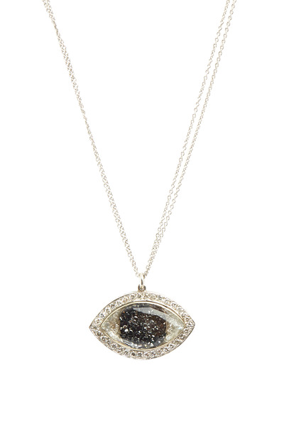 Renee Lewis - White Gold Black & White Diamond Evil Eye Necklace